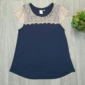 Anthropologie E By Eloise Navy Lace Top, Large